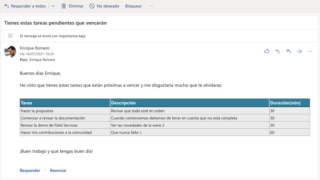 Crea tablas dinámicas en emails con Power Automate